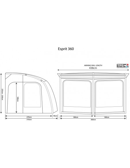Outdoor Revolution ESPRIT 360 Pro Caravanvorzelt  mit Luftschlauch, 310x360cm